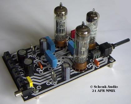 Verstärkerplatine mit 2 x PCL86 und EM800