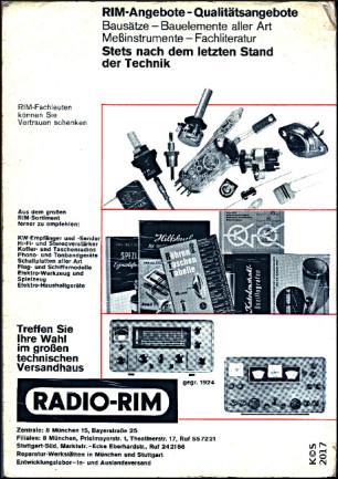 RIM Bastelbuch 1965 - Rückseite