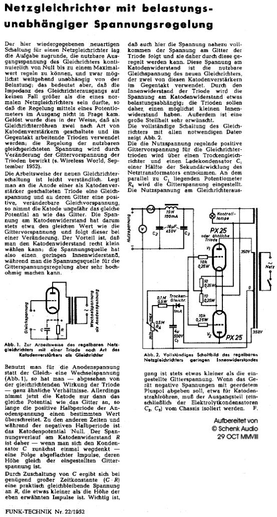 Röhrennetzgerät mit Spannungsregelung