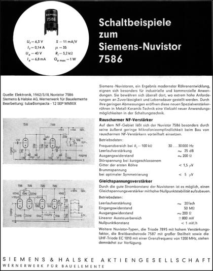 Siemens-Nuvistor 7586 - Elektronik, 1962, 3-III