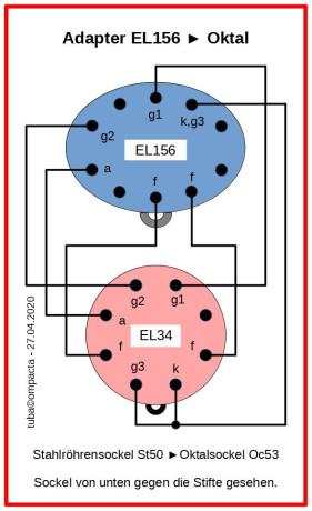 EL156-Adapter auf Oktal (EL34)