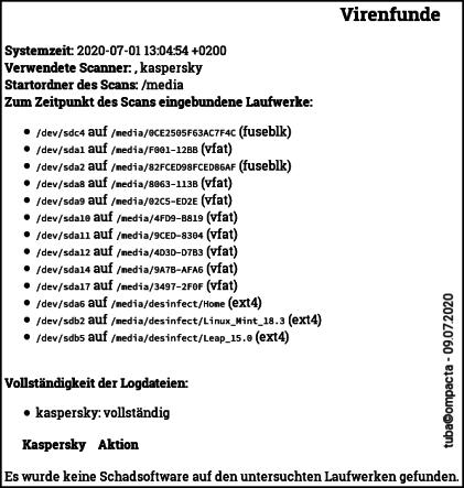 Desinfec't 2020 - Kaspersky - Virenfunde
